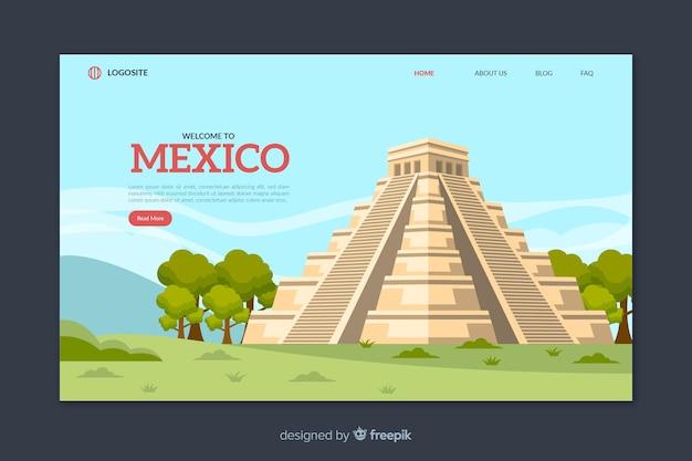 Willkommen in mexiko landing page vorlage Kostenlosen Vektoren
