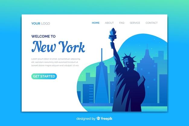 Willkommen in new york landing page vorlage Kostenlosen Vektoren