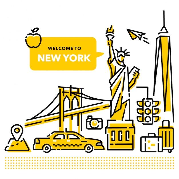 Willkommen in new york Premium Vektoren