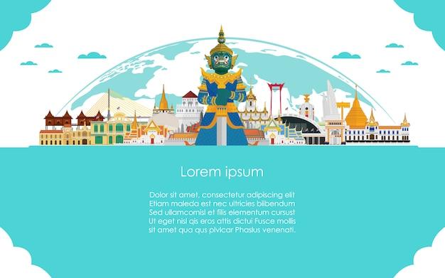 Willkommen in thailand und guardian riese reisevorlage Premium Vektoren