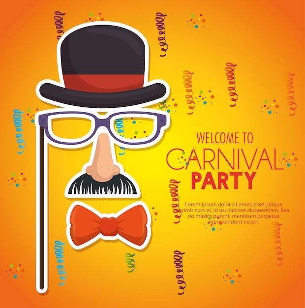Willkommen karnevalsparty gentleman maske konfetti gelben hintergrund Premium Vektoren