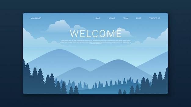 Willkommen landing page template mit bergen und waldlandschaft Premium Vektoren
