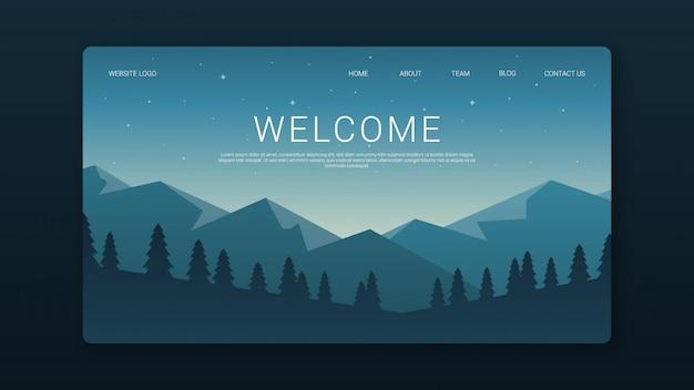 Willkommen landing page template mit nachtlandschaft Premium Vektoren