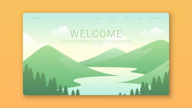 Willkommen landing page template mit wunderschöner landschaft Premium Vektoren