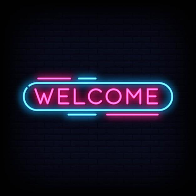 Willkommen neon sign text Premium Vektoren