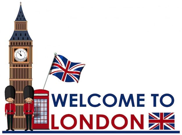 Willkommen zu london sehenswürdigkeiten Premium Vektoren