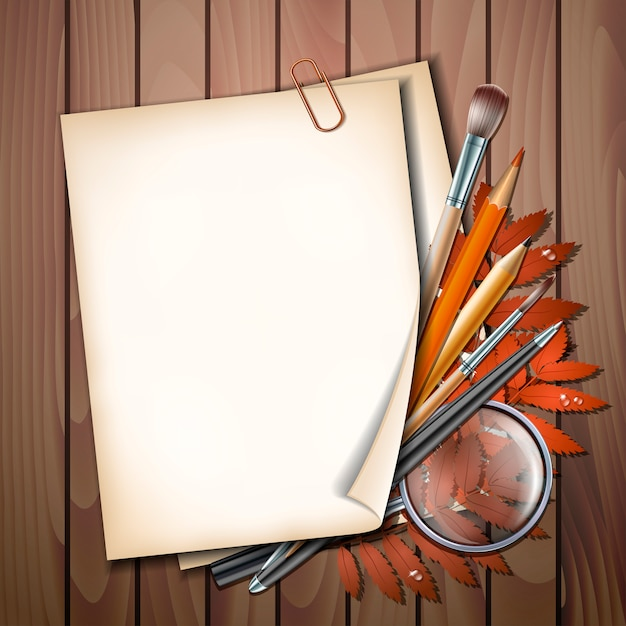 Willkommen zurück im schulischen hintergrund. schulgegenstände und elemente. papierblatt mit herbstlaub, stiften, bleistiften, pinseln und lupe auf holztisch Premium Vektoren