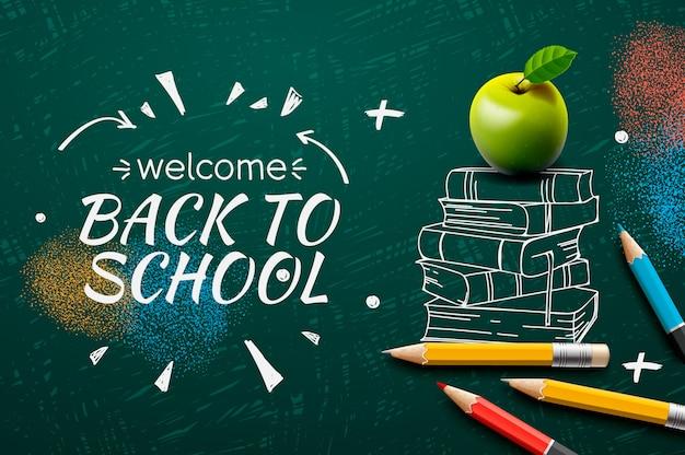 Willkommen zurück in der schule, gekritzel auf tafelhintergrund. Premium Vektoren