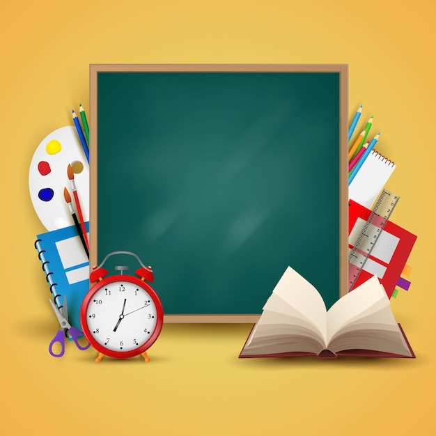 Willkommen zurück in der schule. hintergrund, plakat und vorlage Premium Vektoren