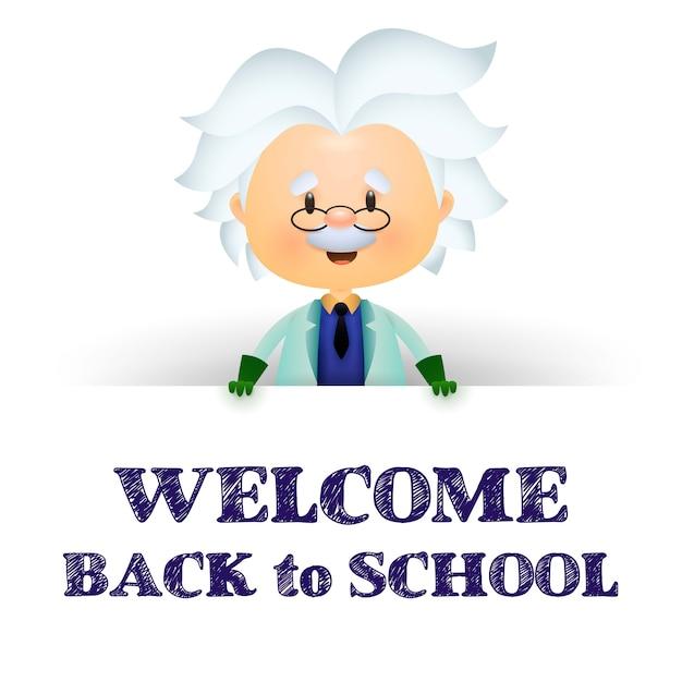 Willkommen zurück in der schule. professor zeichentrickfigur Kostenlosen Vektoren
