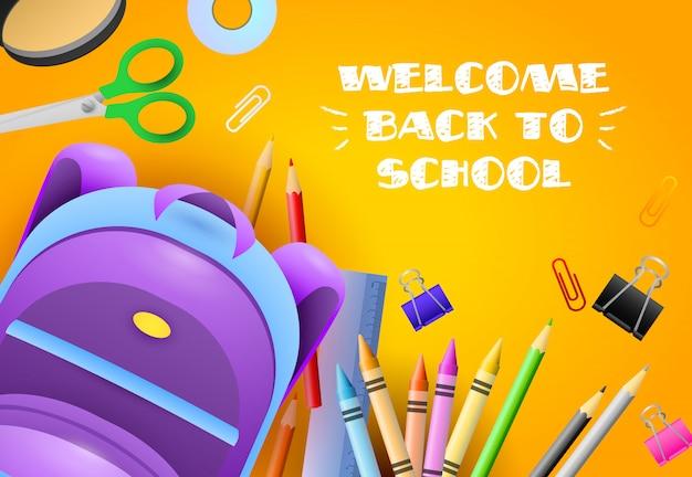 Willkommen zurück in der schule schriftzug mit briefpapier und rucksack Kostenlosen Vektoren