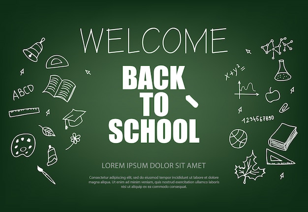 Willkommen zurück in der schule schriftzug mit kreide Kostenlosen Vektoren