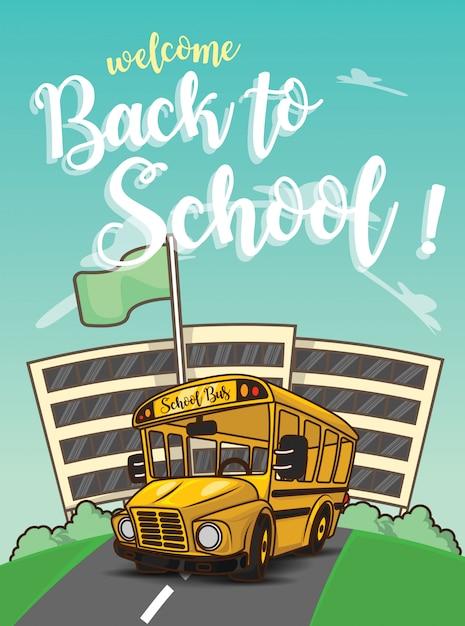 Willkommen zurück in der schule., schulbus auf der straße. Premium Vektoren