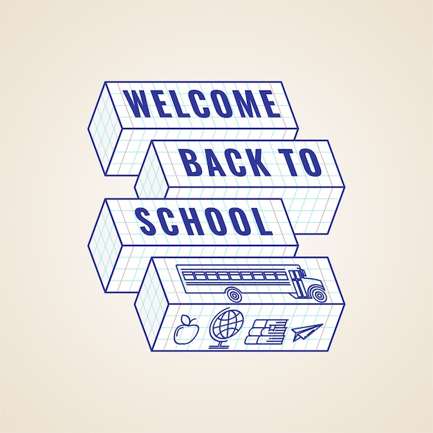 Willkommen zurück in der schule typografisches etikett oder abzeichen oder poster kreative vorlage. Premium Vektoren