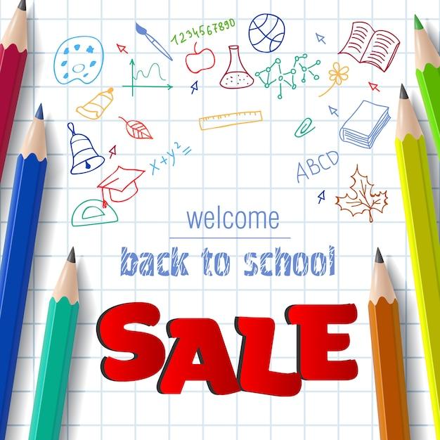 Willkommen, zurück in der schule, verkauf schriftzug mit doodle-zeichnungen Kostenlosen Vektoren