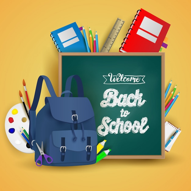 Willkommen zurück in der schule Premium Vektoren
