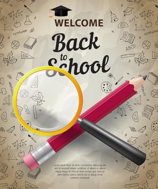 Willkommen, zurück zur schule schriftzug mit gekreuzten bleistift und lupe Kostenlosen Vektoren