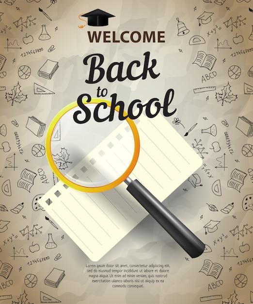 Willkommen, zurück zur schule schriftzug mit lupe und notebook-blatt Kostenlosen Vektoren