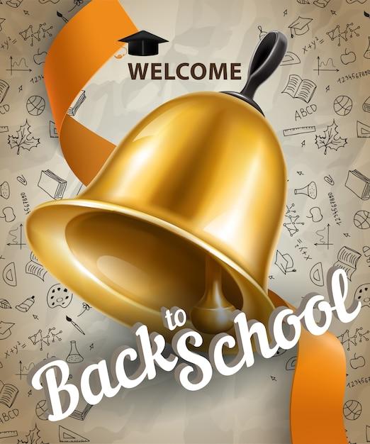 Willkommen, zurück zur schule schriftzug und große glocke Kostenlosen Vektoren