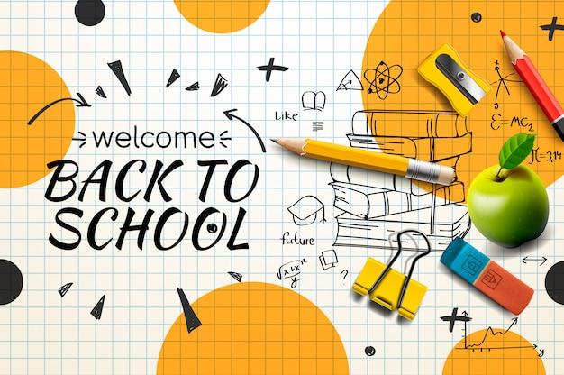 Willkommen zurück zur schule web-banner, gekritzel auf kariertem papier hintergrund, illustration. Premium Vektoren