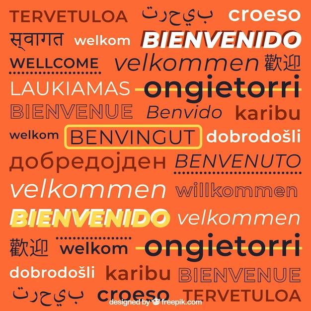 Willkommen zusammensetzung hintergrund in verschiedenen sprachen Kostenlosen Vektoren