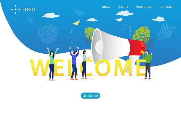 Willkommene landing page, website-schablone, einfach zu redigieren und besonders anzufertigen, vektorillustration Premium Vektoren