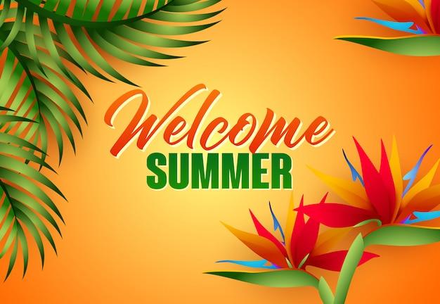 Willkommene sommerbeschriftung mit tropischen blättern und blumen Kostenlosen Vektoren