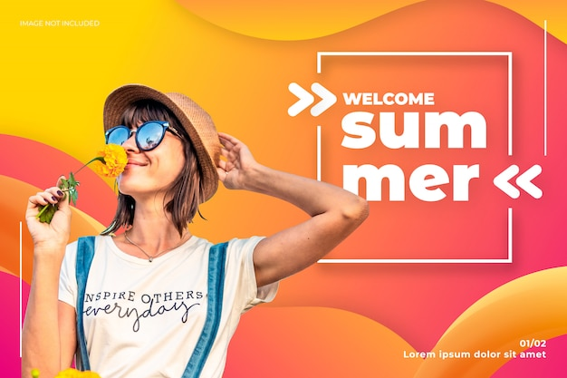Willkommene sommerfahne Kostenlosen Vektoren