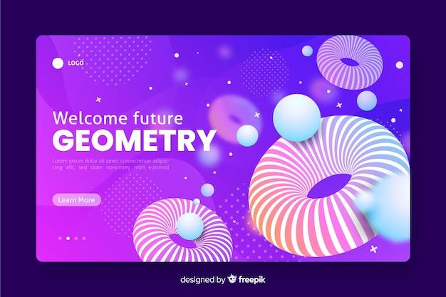 Willkommene zukünftige geometrische landingpage 3d Kostenlosen Vektoren