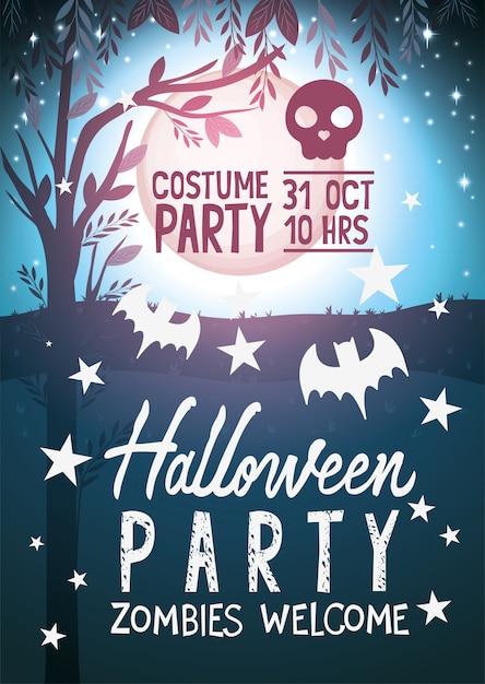 Willkommenes partyplakat der halloween-zombies Premium Vektoren