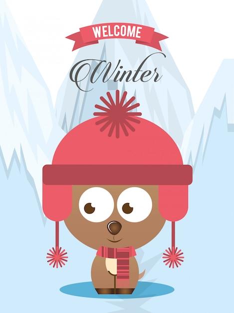 Willkommenes winterdesign Premium Vektoren