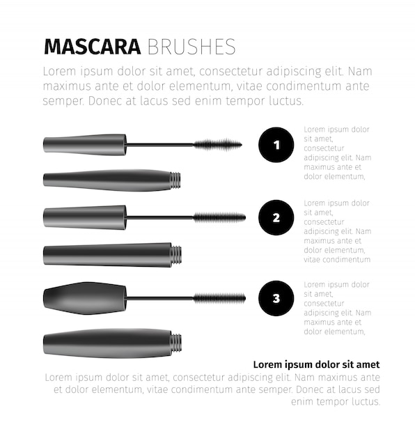 Wimperntuschenmode infographic mit realistischen kosmetischen gegenständen und textschablone Kostenlosen Vektoren