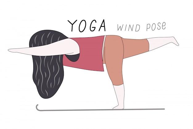 Wind yoga-pose Premium Vektoren
