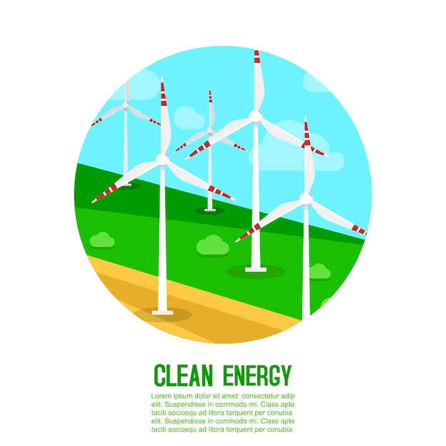 Windenergie erzeugt energieillustrationsschablone Premium Vektoren
