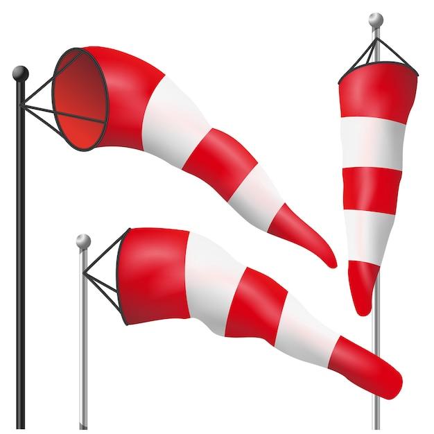 Windgeschwindigkeit flag vektor. durch wind auf einem pole aufgebläht. wetter windsock isoliert abbildung Premium Vektoren