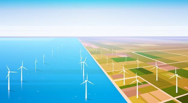 Windkraftanlage-energie-auswechselbarer wasserstation-feld-hintergrund Premium Vektoren