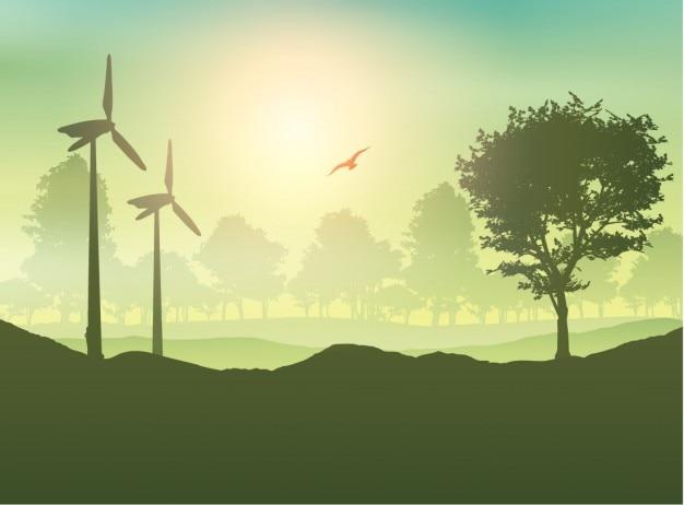 Windkraftanlage und bäume landschaft Kostenlosen Vektoren