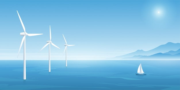Windkrafttechnik. vektor-illustration Premium Vektoren