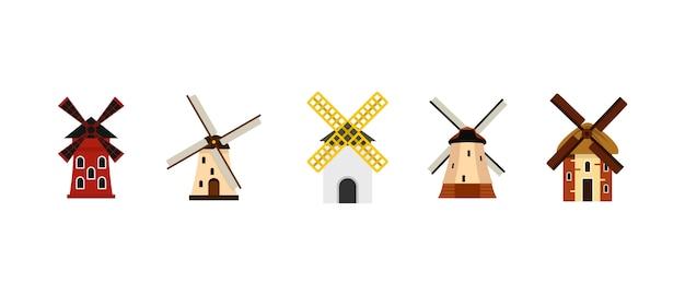 Windmühle-icon-set. flacher satz der windmühlvektor-ikonensammlung lokalisiert Premium Vektoren