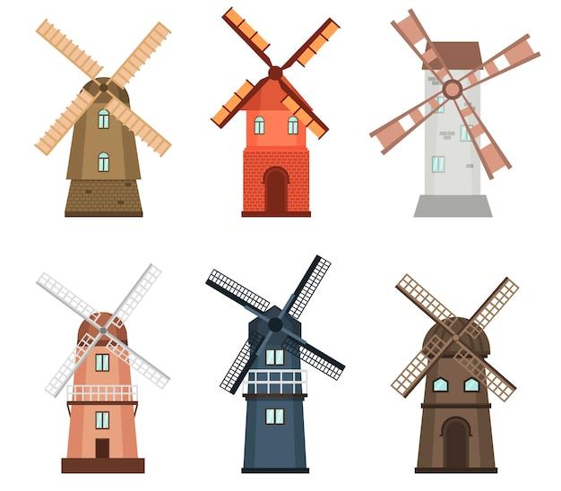 Windmühlen-bauernhofwirtschaftsökologie der windmühle ländliche Premium Vektoren