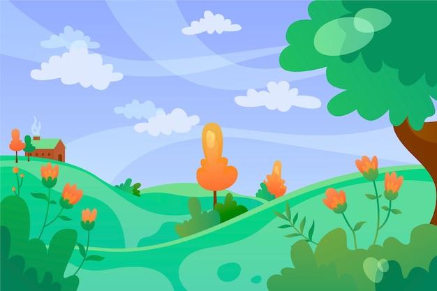 Windtag der entspannenden frühlingslandschaft Kostenlosen Vektoren