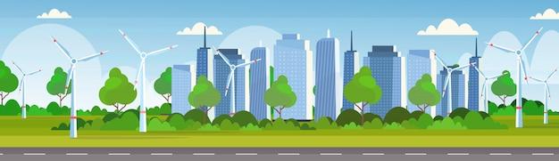 Windturbinen feld sauber alternative energiequelle erneuerbare station konzept moderne stadtbild skyline hintergrund horizontale banner Premium Vektoren