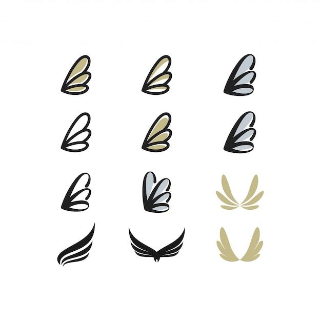 Wing-logo-paket Premium Vektoren