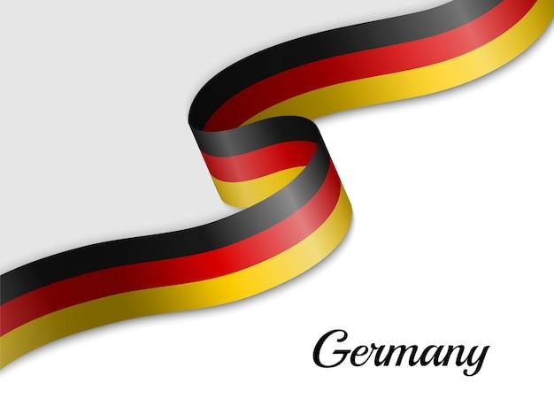 Winkende bandflagge von deutschland Premium Vektoren