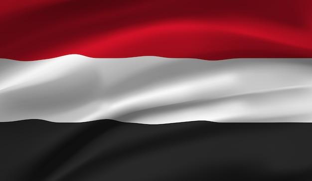 Winkende flagge ägyptens. winkende ägypten flagge Premium Vektoren