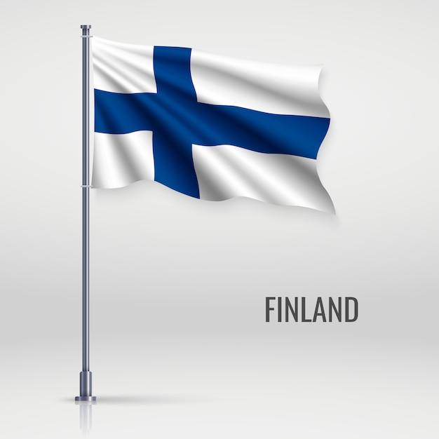 Winkende flagge am fahnenmast. Premium Vektoren