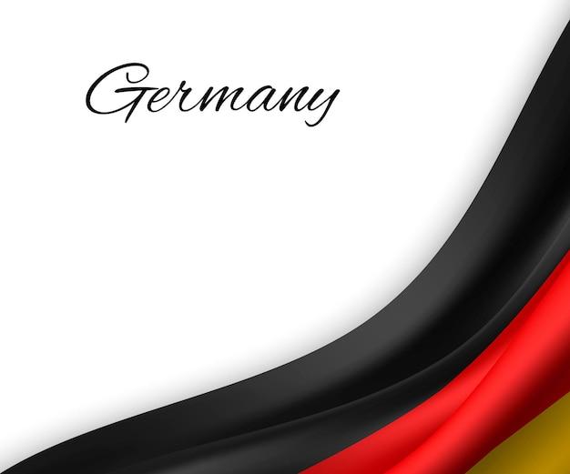 Winkende flagge von deutschland auf weißem hintergrund. Premium Vektoren
