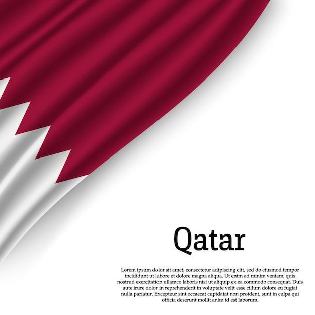 Winkende flagge von katar auf weiß Premium Vektoren