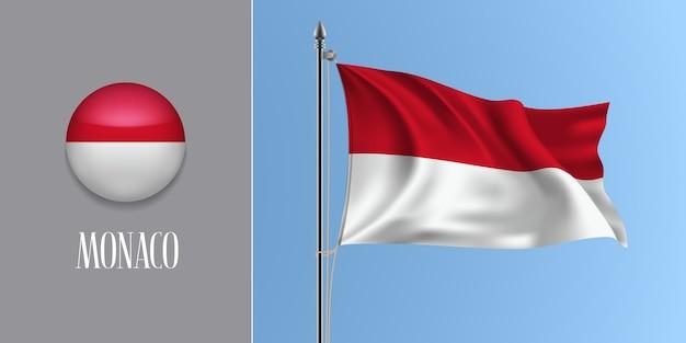 Winkende flagge von monaco auf fahnenmast und rundem symbol, modell der roten weißen monacan-flagge und des kreisknopfes Premium Vektoren