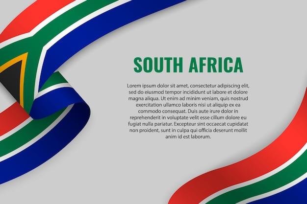Winkendes band oder banner mit flagge von südafrika Premium Vektoren